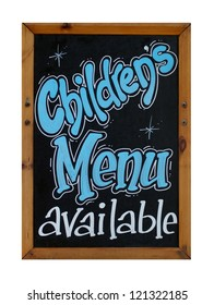 Childrens menu available sign on blackboard or chalkboard isolated on white background.
