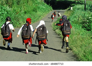 Childrens on the way going to school in Ranupane village, Lumajang, East Java, Indonesia. Photos taken on May 20, 2009