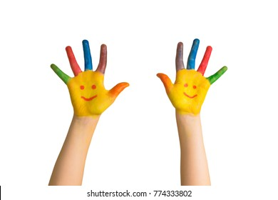 Children's painted hands with smiling faces. Kids hands and palms painted smileys. Ready for your logo or text. Happiness, joy, education, creative, school concept. Isolated on white background.