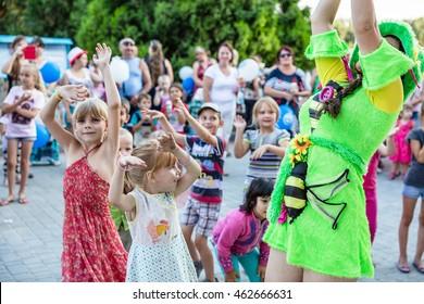 Children's party on the playground. 3 August 2016. Odessa, Ukraine