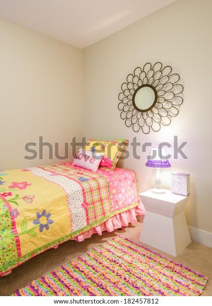 Childrens Pink Princess Bedroom Playroom Interior Stock ...