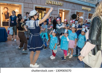 Children's pirate party with animators and entertainment for young children on the cruise ship Meraviglia MCS, October 12, 2018