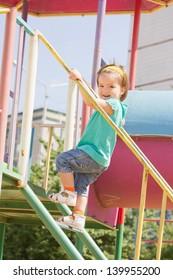Childrens playground area in summer