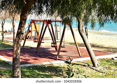 Children's playground on the beach, Mediterranean Sea, Cyprus.