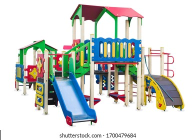 Children's playground in a park built for the development of people and Entertainment. Isolated.