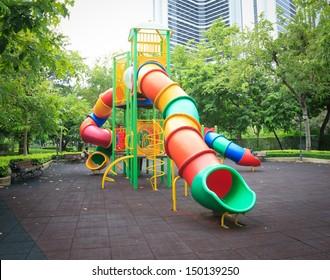 Children's playground at public park ,Bangkok