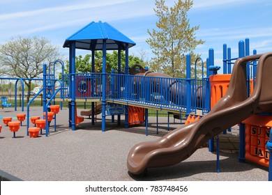 Children's playground with a slide.