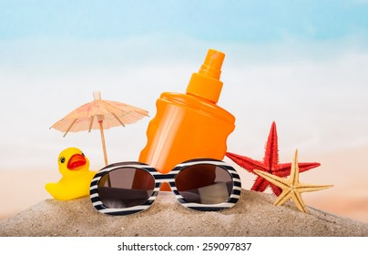 Children's products for relaxing on the beach in the sand