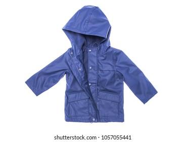 Children's raincoat isolated on white background. Close-up.