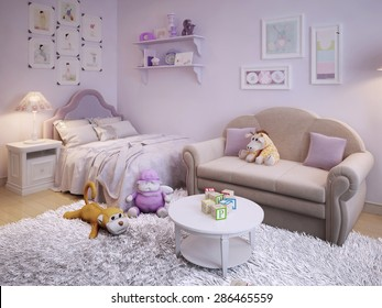 Children's room in a classic style in pink with white furniture. 3d render.