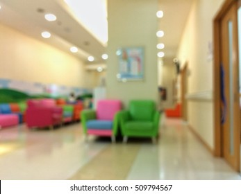 Children's room in hospital. The out of focus blur background.Take with camera's mobile.