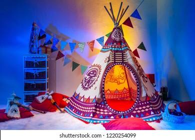 Children's room. Indians. Playroom for children. Needle. TIPI.