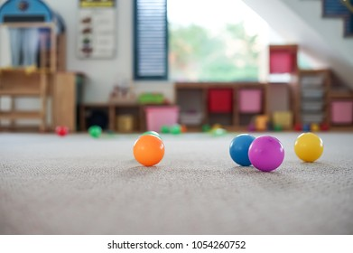 Children's room with toys.  plastic balls in a play room