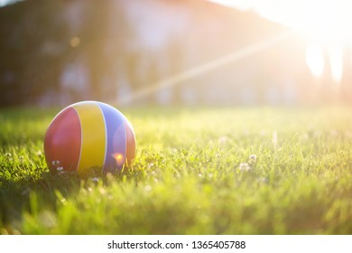 children's rubber ball on the grass. On a Sunny summer day