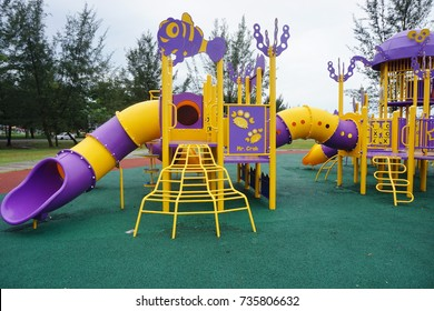 Children's safe playground recreation area at seaside public park
