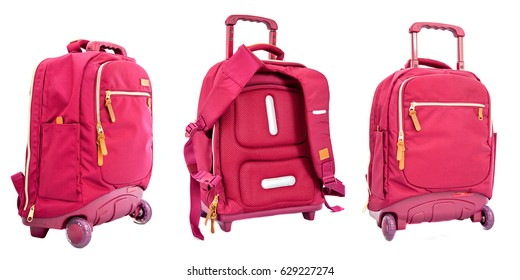 children's school trolley bag red color on a white background