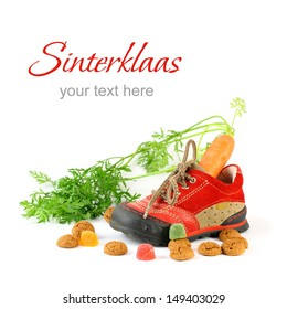 Childrens shoe and pepernoten for Sinterklaas with sample text