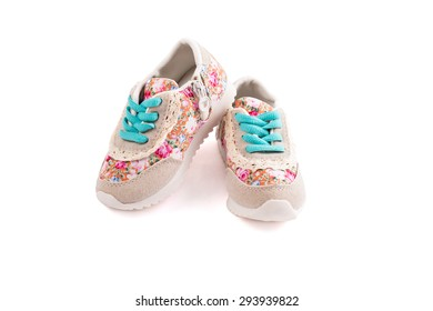 Children's shoes isolated on white background