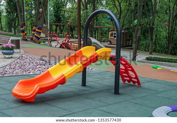 childrens-slide-located-on-playground-60