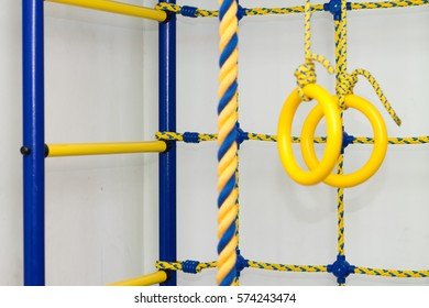 Children's Sports Area. wall bars. Ladders, ropes, sports rings