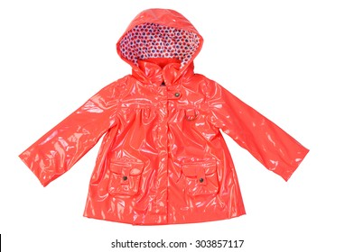 Children's stylish fashionable lacquered orange jacket  for the little girl, windbreaker with hood,  raincoat with pockets isolated on a white background