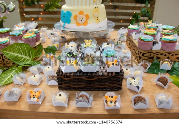 Super Childrens Table Decoration Birthday Cake Candies Stock Photo Edit Personalised Birthday Cards Cominlily Jamesorg