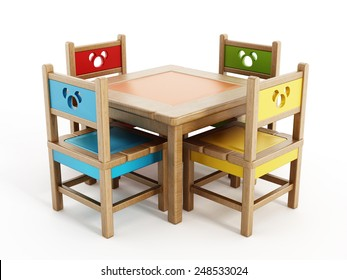 Children's Tables And Chairs isolated on white background.