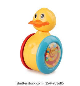 children's toy duck tumbler rolling, isolated on white background, giro toy, roly poly