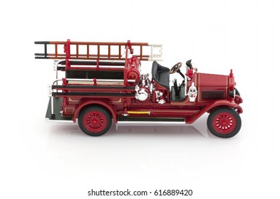 Children's toy fire truck on a white background