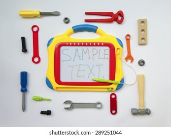Children's toy instruments around the Board for text