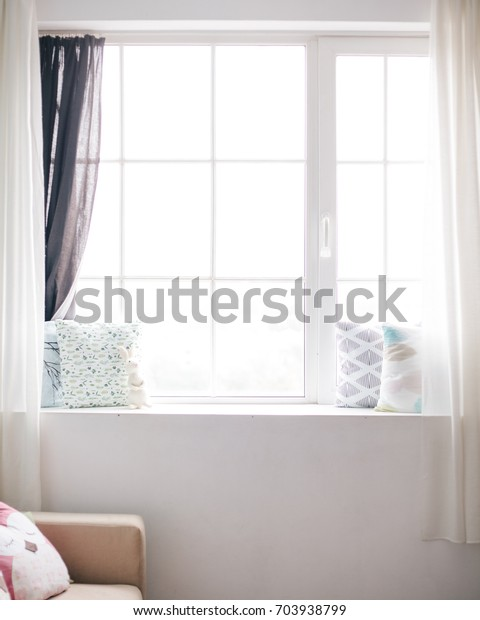 Childrens Toy Pillows Print On Window Stock Photo (Edit Now) 703938799