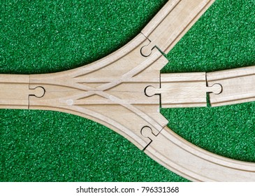 Childrens toy, wooden train track, junction, playtime