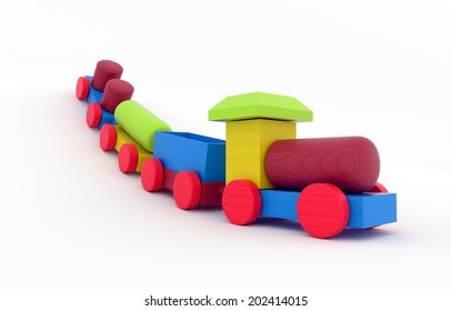 children's toy - wooden Toy Train with wagons - 3D model