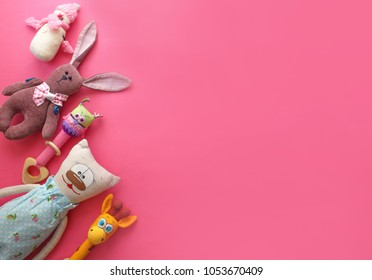 Children's toys on a bright background.