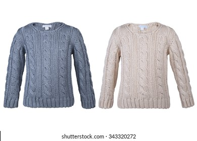 Children's warm sweater isolated on white background.