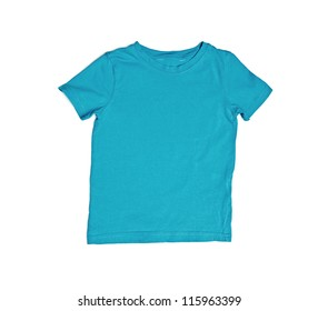 Children's wear - blue shirt isolated over white background