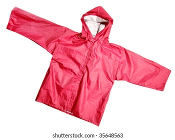 Children's wear - Red raincoat isolated over the white background
