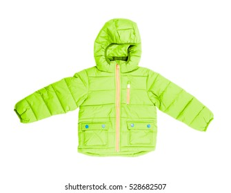 Children's winter jacket with hood isolated on white