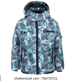 Children's winter jacket isolated on white background, clothes for kids
