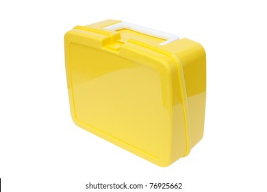 Children's yellow plastic lunchbox on a white background