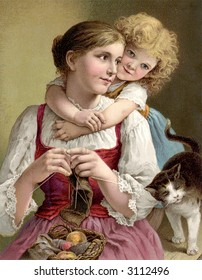 Child's arms wrapped around mother - circa 1890 vintage illustration