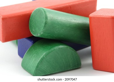 Childs building blocks against a white background
