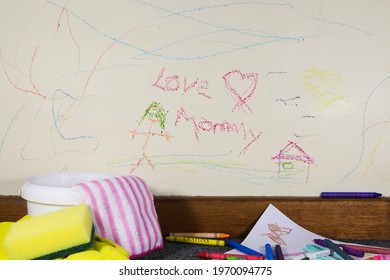 Child's Crayon Graffiti Wall Art With Cleaning Material