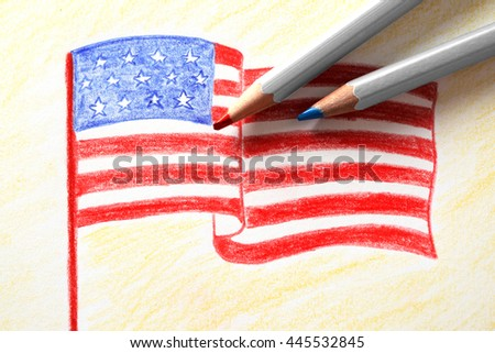 Childs Drawing American Flag Close Stock Photo Edit Now 445532845
