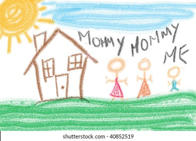 Child's drawing of family unit. Two mothers and one child.