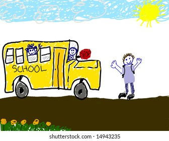 Child's drawing of taking the bus to school