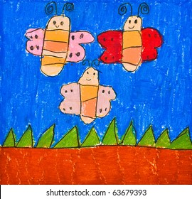 Child's Drawing of Three Happy Butterfly