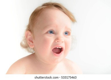 child's emotions on a white background