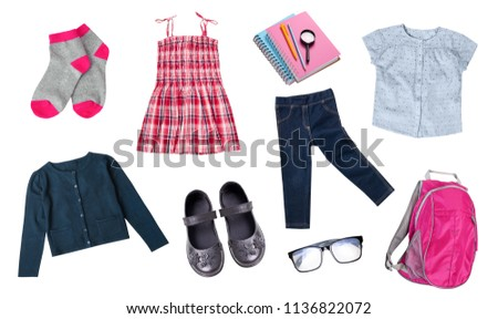 b22b6eec8b Childs Girl School Uniform Set Clothes Stock Photo (Edit Now ...
