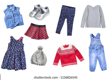 Child's girl  set clothes isolated.
